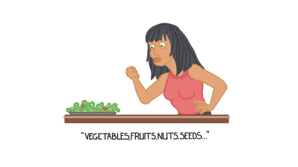 vegetables, fruits, nuts, and seeds