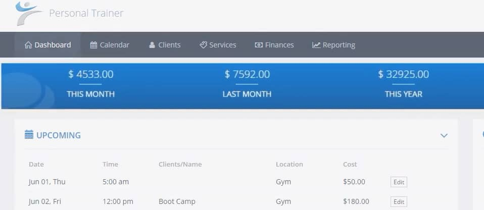 Overview of PTminder (Personal Training Software) 3