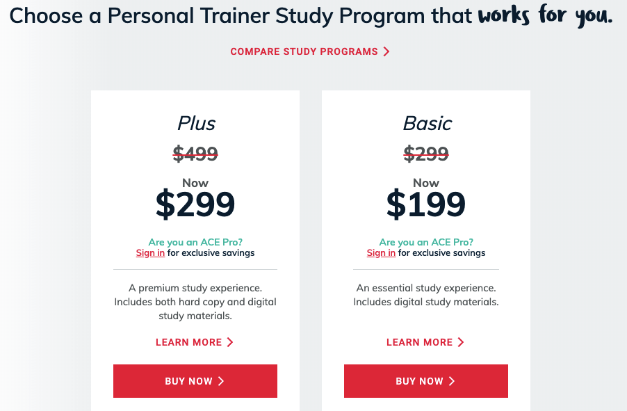 ACE Personal Training Certification Program Options