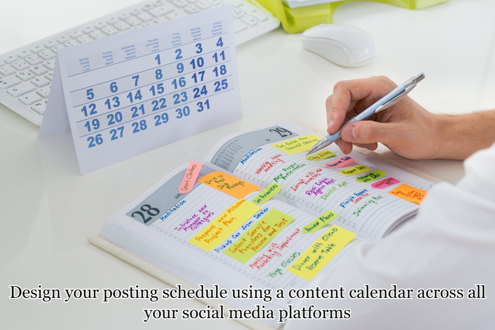 Design your posting schedule using a content calendar across all your social media platforms